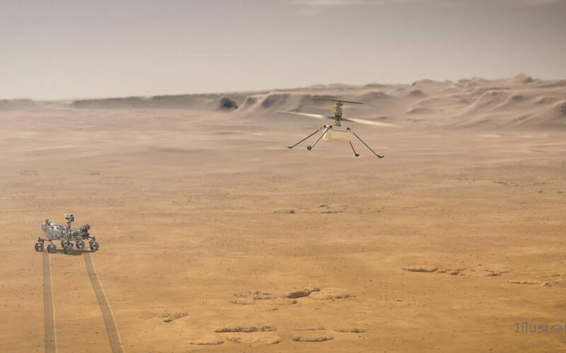 Ilustración de Ingenuity volando sobre la superficie de Marte. / NASA/JPL-Caltech