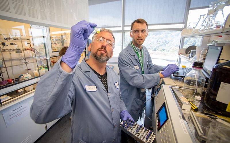 Brett Helms, en primer plano, es uno de los autores de la investigación. Foto: Thor Swift / Berkeley Lab