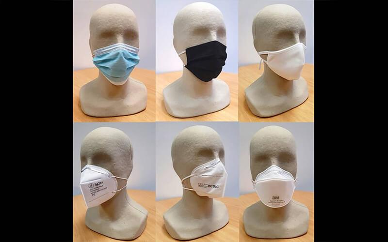 El estudio analiza mascarillas quirúrgicas, de tela, FFP2, KN95 y FFP3 / César Hernández-CSIC